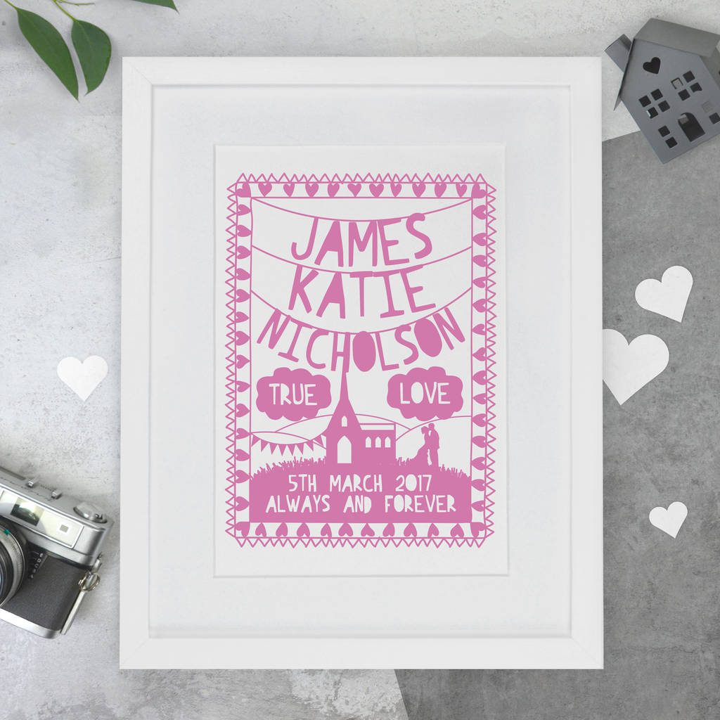 personalised wedding papercut or print by the portland co ...