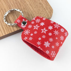 Snowflake Print Festive Red Leather Keyring - whats new
