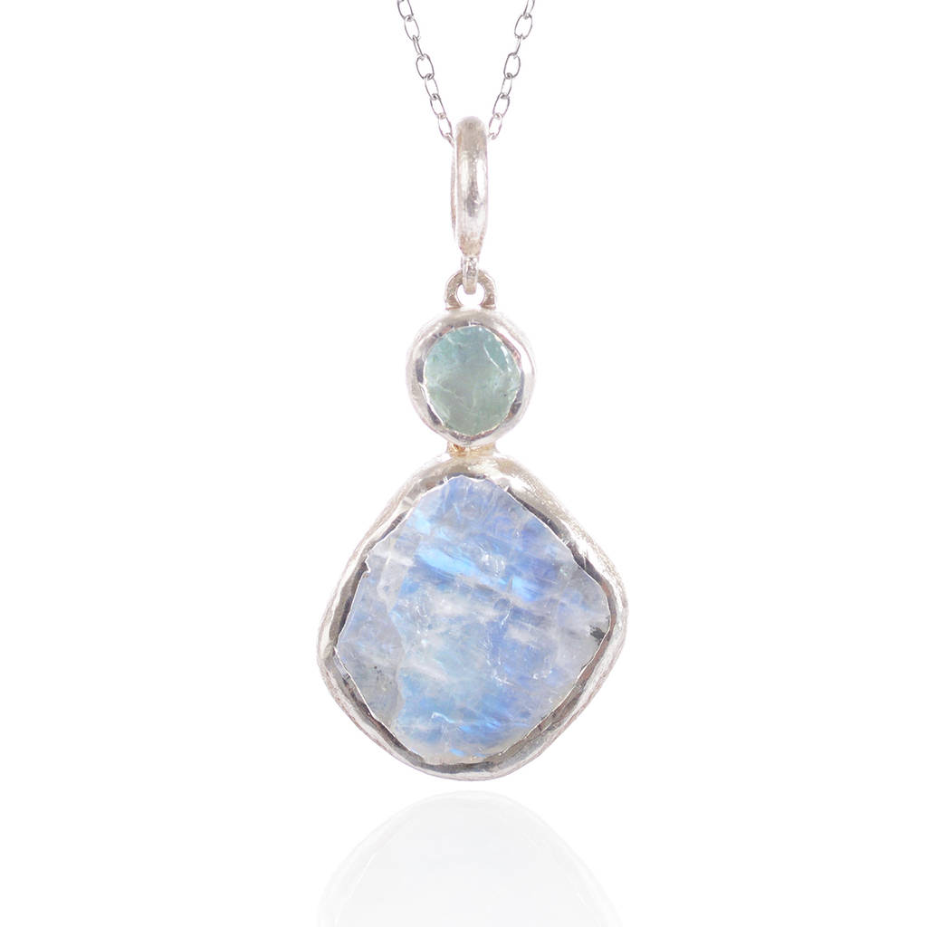 moonstone and aquamarine handmade silver pendant by