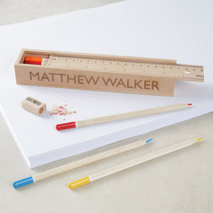 Personalised Wooden Pencil Case Box - writing