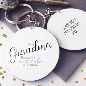 This Nanny / Grandma Belongs To… Personalised Keyring