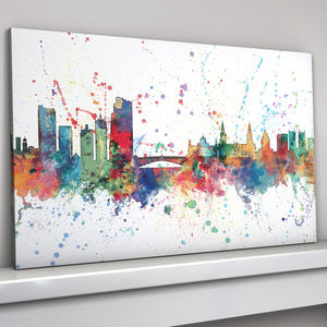 Leeds Skyline Cityscape Paint Splashes Print - new in prints & art