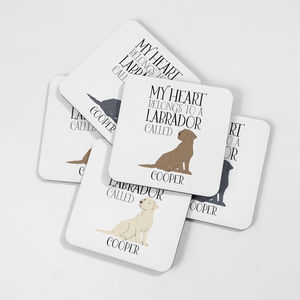 Personalised My Heart Belongs To A Labrador Coaster