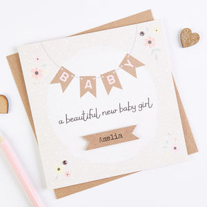 Personalised New Baby Girl Card Floral Bunting
