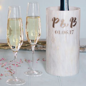 Wedding Marble Wine Cooler With Monogram - wine racks & storage