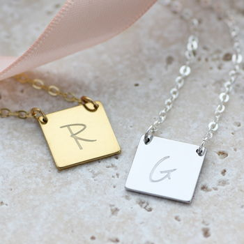 Square Personalised Birthstone Necklace