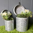 Pair Of Zinc Hinged Lid Planters