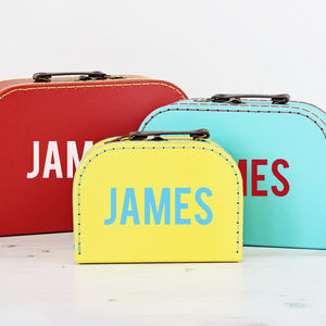 Personalised Colourful Suitcase Storage Box Trio