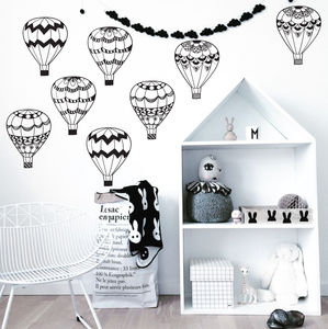 Monochrome Hot Air Balloons - wall stickers
