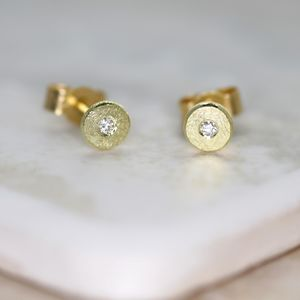 'Sun And Star' 18ct Gold And Diamond Studs - earrings