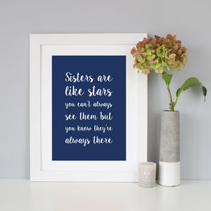 'Sisters Are Like Stars' Script Font Print - family & home