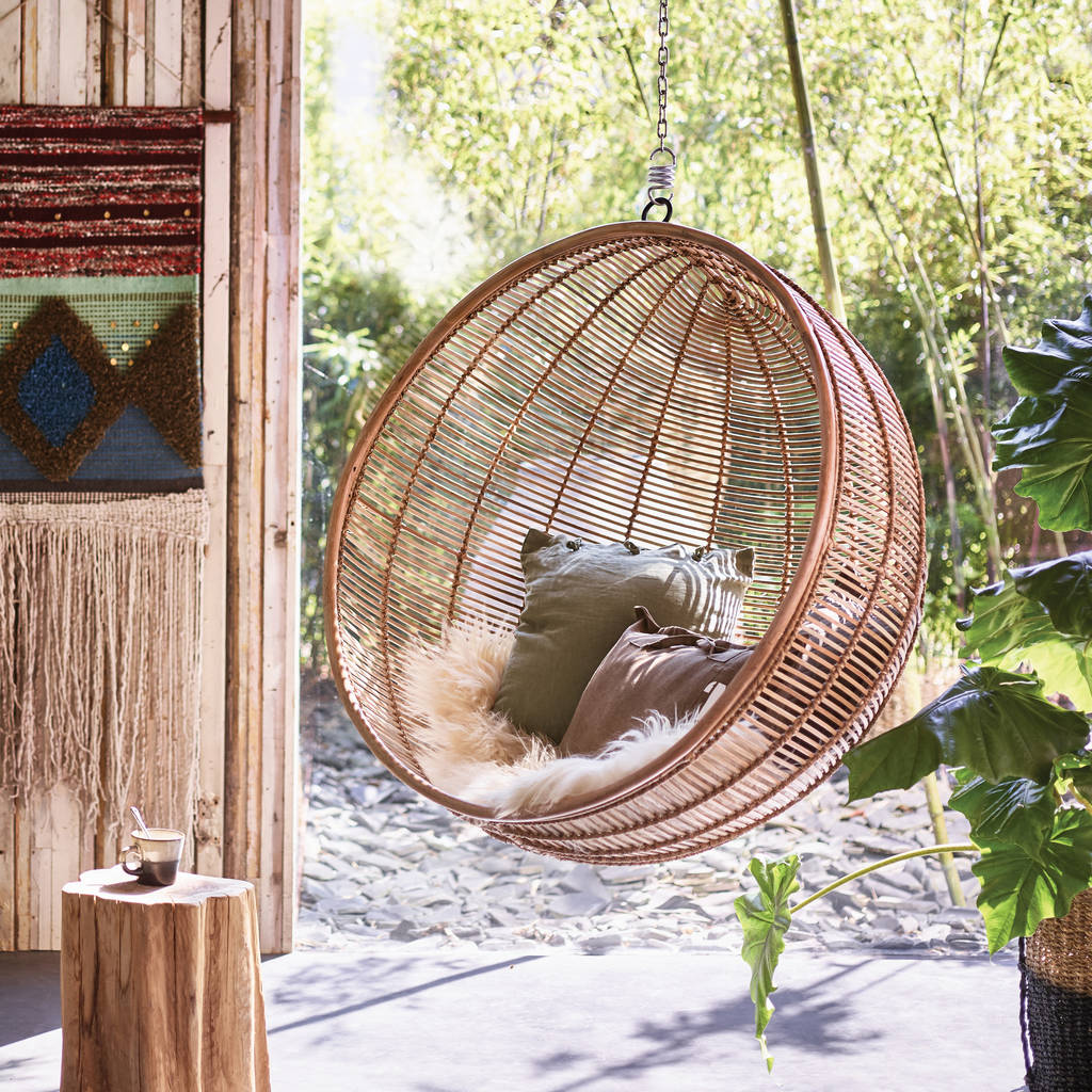 Bali Ball Hanging Rattan Chair Inside Outside Living By
