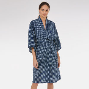 Cotton Wrap Kimono In Navy Startree Print - lingerie & nightwear
