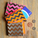 Recycled Leather Chevron Travel Card Holder