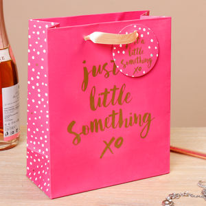Just A Little Something Fuschia Gift Bag - gift bags & boxes