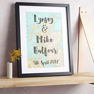 Personalised Anniversary Date Map Print - 100 best wedding prints