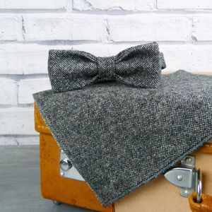 Yorkshire Tweed Skinny Bow Tie And Pocket Square - mens