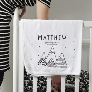 Personalised 'Moving Mountains' Cotton Baby Blanket