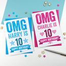 Omg Personalised 10th Birthday Card