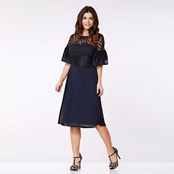 Chloe Bell Sleeve Pleated Dress