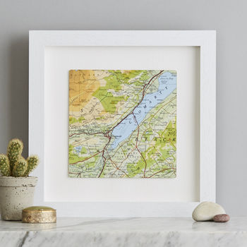 Personalised Square Map Print Gift For Him