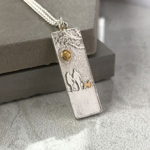 Dog Lovers Necklace With Yellow Sapphire Sunshine
