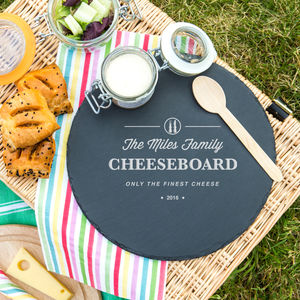 Personalised Family Slate Cheese Serving Platter - summer sale