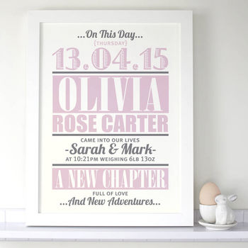 Personalised Baby Girl 'New Addition' Birth Print