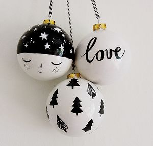 Monochrome Christmas Bauble Trio - tree decorations