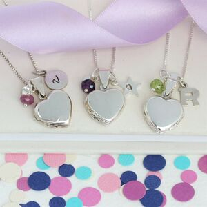 Childs Personalised Silver Heart Locket With Birthstone
