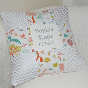 Forest Friends Name And Date Cushion - cushions