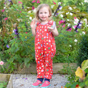 Red Adventure Dungarees - babies' dungarees