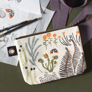 Moth And Fern Zip Pouch - pencil cases