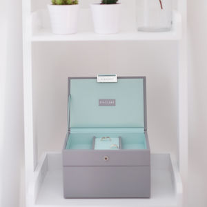 Dove Grey With Mint Mini Jewellery Box - jewellery storage & trinket boxes