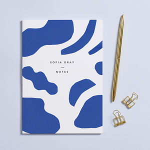 Personalised Abstract Print A5 Notebook - writing accessories