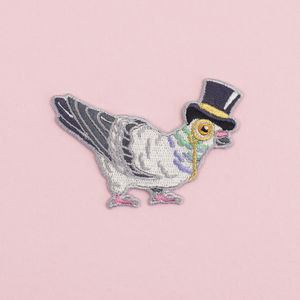 Pigeon In A Top Hat Iron On Embroidered Patch