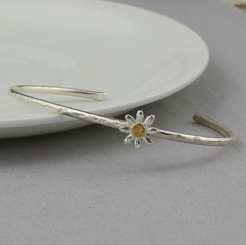 Sterling Silver Daisy Cuff Bangle