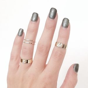 Mini Gold Crystal Midi Ring Set Of Four