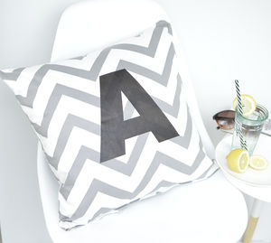 Personalised Alphabet Chevron Print Cushion