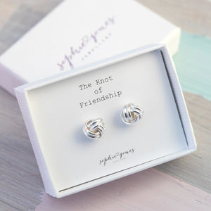 Silver Friendship Knot Earrings - earrings