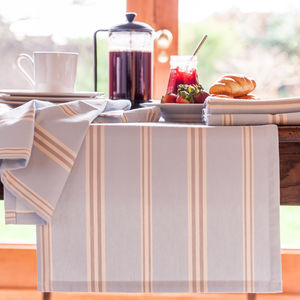 Eastnor Blue Grey Ticking Stripe Table Runner