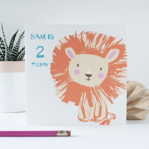 Personalised Lion Age Card For Boys Or Girls - birthday cards