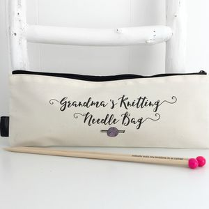 'Grandma's Knitting' Personalised Knitting Needle Case