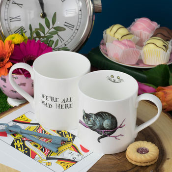 Fine bone china mug with an original illustration of Alice in Wonderland's Cheshire Cat