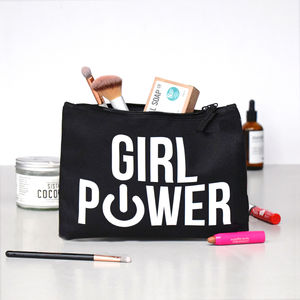 Black 'Girl Power' Wash Bag