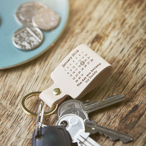 Personalised Leather 'Day You Became My…' Keyring - for new mums