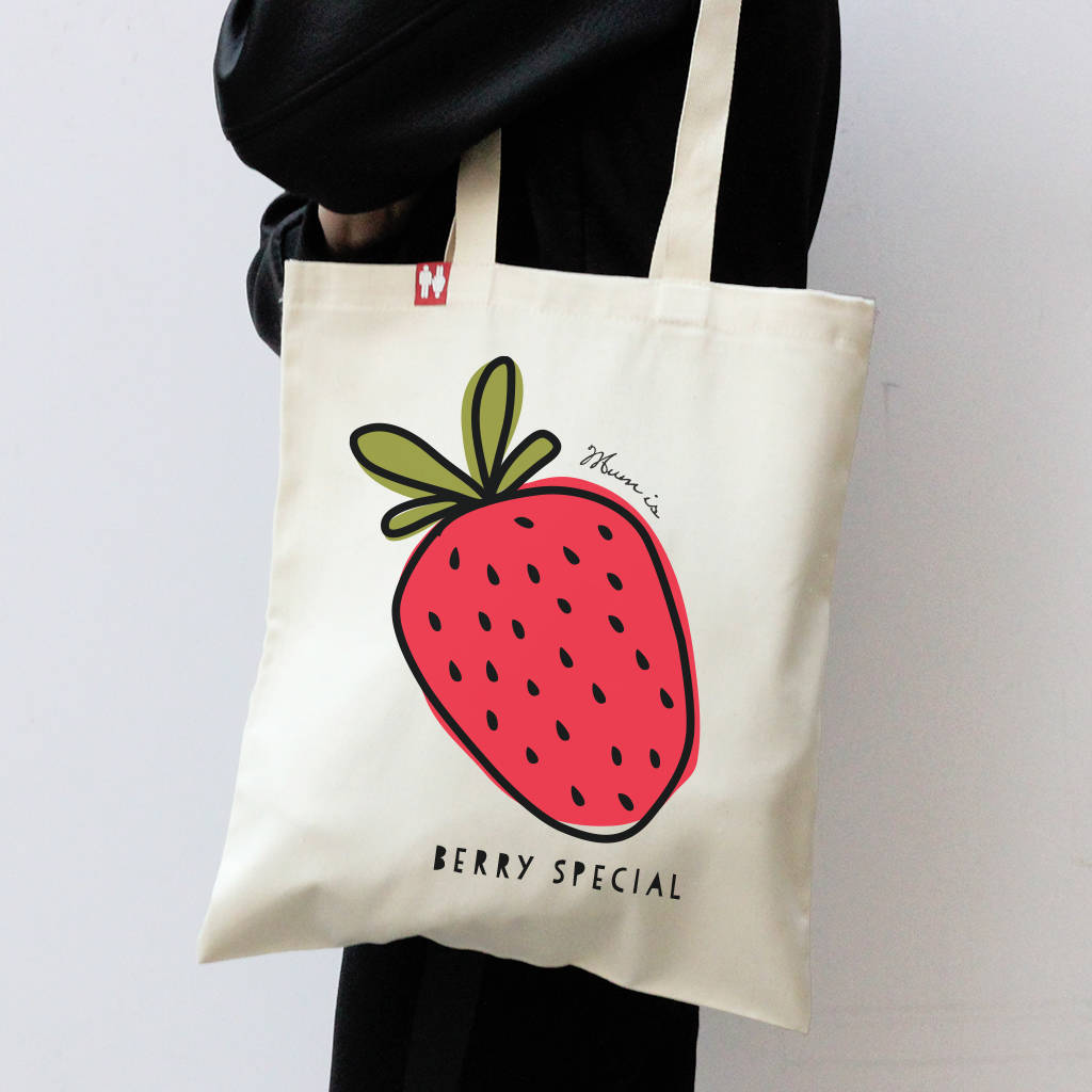 Personalised Strawberry Tote Bag