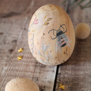 Floral Bee Wooden Egg