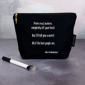 'You Are Bonkers' Quote Alice In Wonderland Make Up Bag - make-up & wash bags