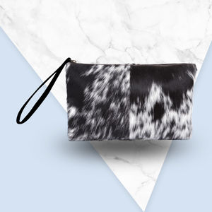 Classic Clutch Bag In Animal Print/Natural Pony Fur